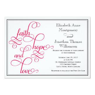 Deep Rose Pink Faith Hope and Love Wedding Invite