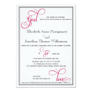 Deep Rose Pink God is Love Christian Wedding 13 Cm X 18 Cm Invitation Card