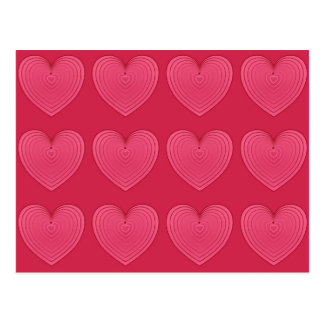Deep Rose Pink Satin Hearts Postcard