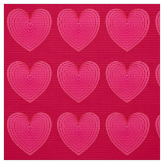 Deep Rose Pink Satin Hearts, rose red background Fabric