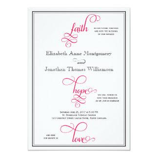 Deep Rose Pink Script Faith Hope & Love Wedding 13 Cm X 18 Cm Invitation Card