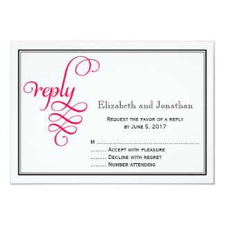 Deep Rose Pink Script Wedding Reply Card 9 Cm X 13 Cm Invitation Card