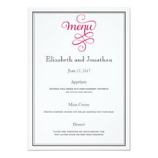 Deep Rose Pink Wedding Reception Menu 13 Cm X 18 Cm Invitation Card