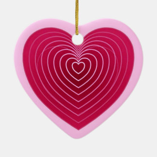 Deep rose red heart on a pale pink background ceramic heart decoration
