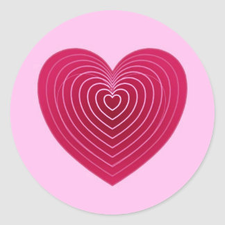 Deep rose red heart on a pale pink background stickers