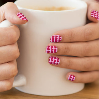 Deep rose red hearts on a pale pink background minx ® nail art