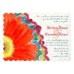 Deep Rose Teal & Citrus Lime Gerber Wedding Invite