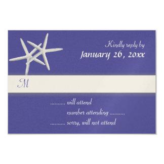 Deep Sea Blue Starfish Wedding Invitation Reply