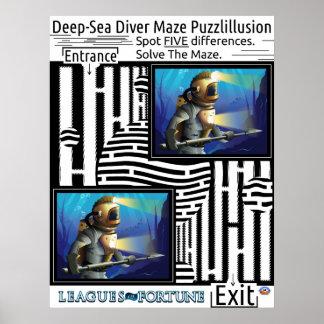 Deep Sea Diver Maze for your fun Poster