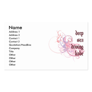 Deep Sea Diving Babe Business Card Templates