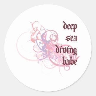 Deep Sea Diving Babe Round Sticker