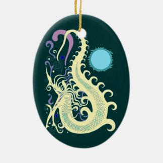 Deep Sea Dragon (Cool Green & Blue) ornaments