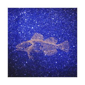 Deep Sea Fish Ocean Life Pink Rose Gold Copper Canvas Print