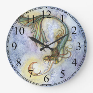 Deep Sea Moon Mermaid Clock by Molly Harrison