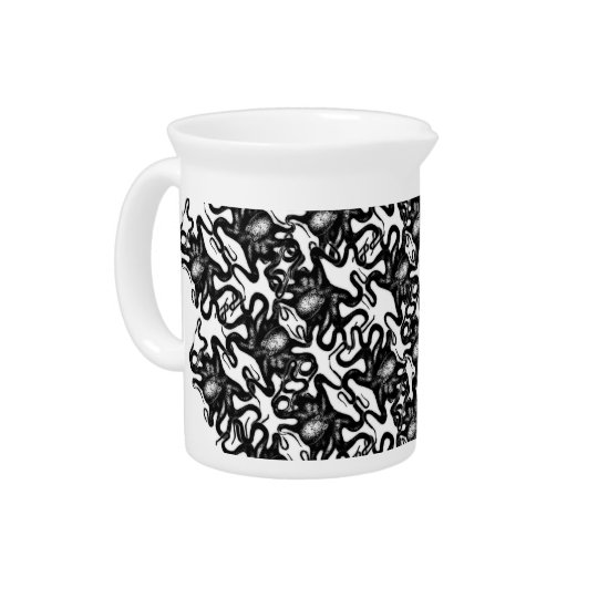 Deep Sea Octopus Black on White Illusion Effect Pitcher