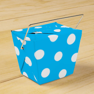 Deep Sky Blue and White Dots Wedding Favour Box