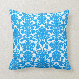 Deep Sky Blue Damask Throw Pillows