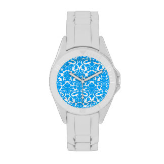 Deep Sky Blue Damask Watches