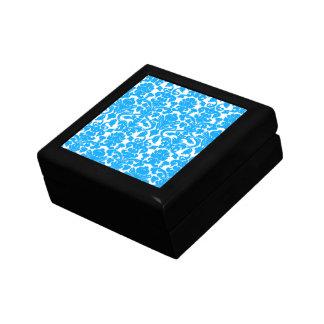 Deep Sky Blue Damask Keepsake Boxes
