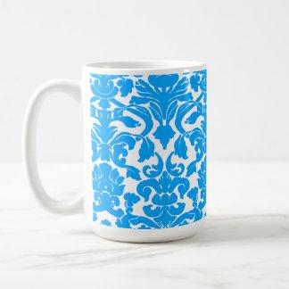 Deep Sky Blue Damask Basic White Mug