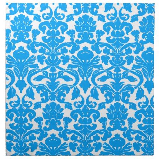 Deep Sky Blue Damask Printed Napkin