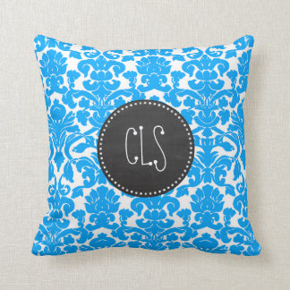 Deep Sky Blue Damask; Retro Chalkboard Throw Pillow
