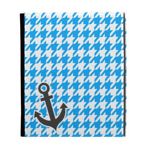 Deep Sky Blue Houndstooth; Anchor iPad Folio Cases