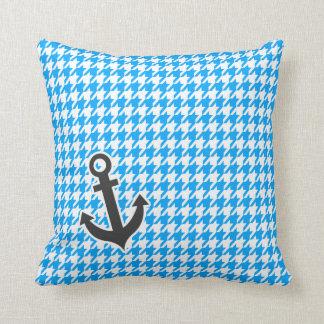 Deep Sky Blue Houndstooth; Anchor Pillows
