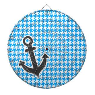Deep Sky Blue Houndstooth; Anchor Dartboard