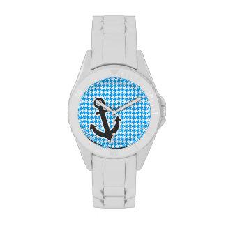 Deep Sky Blue Houndstooth; Anchor Wristwatch