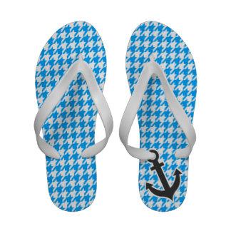 Deep Sky Blue Houndstooth Anchor Sandals