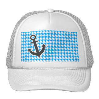 Deep Sky Blue Houndstooth; Anchor Mesh Hats
