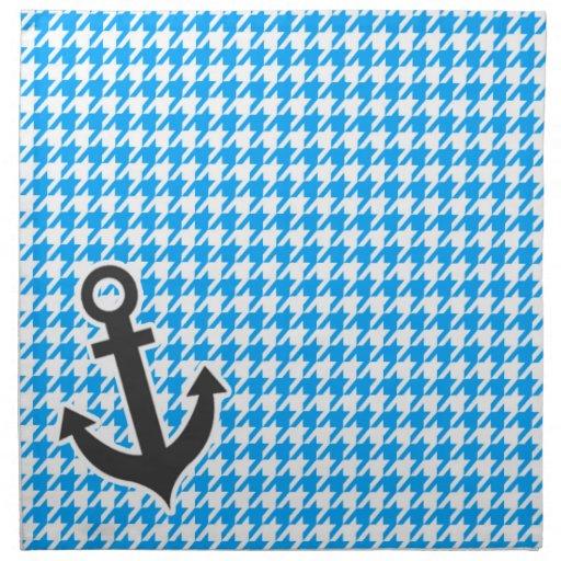 Deep Sky Blue Houndstooth; Anchor Printed Napkin