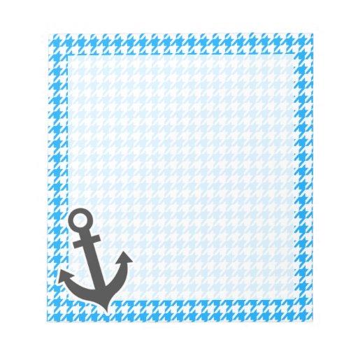 Deep Sky Blue Houndstooth; Anchor Memo Notepads