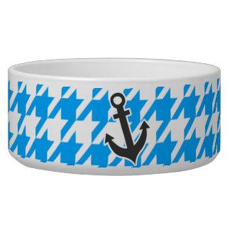 Deep Sky Blue Houndstooth Anchor Pet Food Bowl