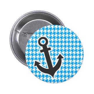 Deep Sky Blue Houndstooth Anchor Pins