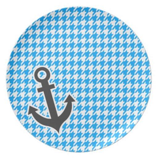 Deep Sky Blue Houndstooth; Anchor Dinner Plates