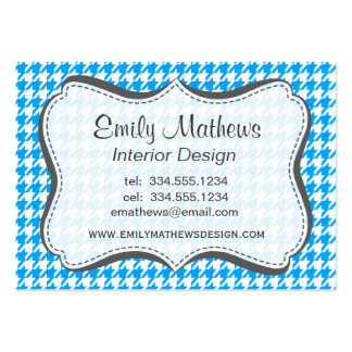 Deep Sky Blue Houndstooth Business Card Templates