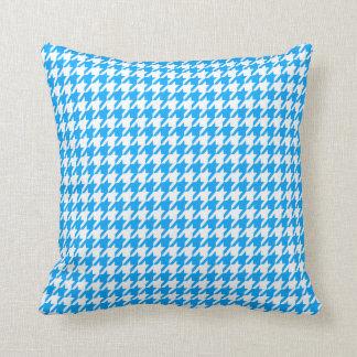 Deep Sky Blue Houndstooth Throw Pillows
