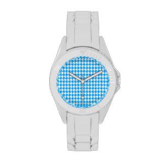 Deep Sky Blue Houndstooth Wrist Watch