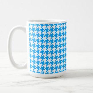 Deep Sky Blue Houndstooth Classic White Coffee Mug