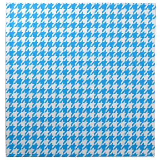 Deep Sky Blue Houndstooth Cloth Napkins