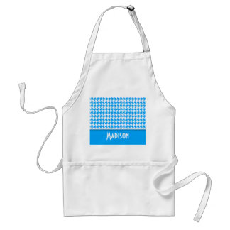 Deep Sky Blue Houndstooth; Personalized Adult Apron