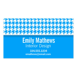 Deep Sky Blue Houndstooth; Personalized Business Card Templates