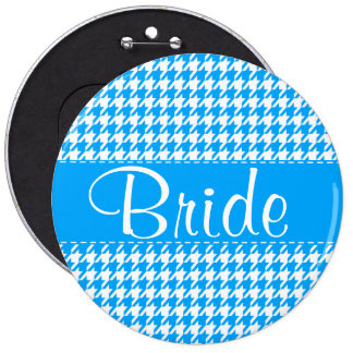 Deep Sky Blue Houndstooth Personalized Button