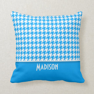 Deep Sky Blue Houndstooth; Personalized Pillows