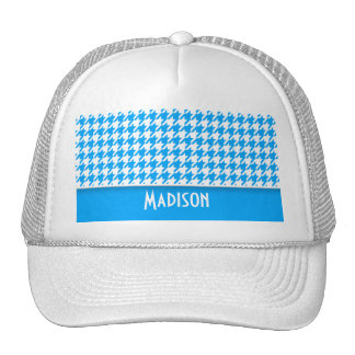 Deep Sky Blue Houndstooth; Personalized Mesh Hats