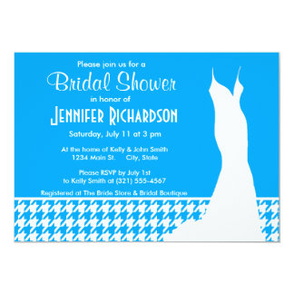 "Deep Sky Blue Houndstooth; Personalized 5"" X 7"" Invitation Card"