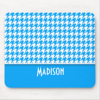 Deep Sky Blue Houndstooth; Personalized Mousepad