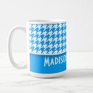 Deep Sky Blue Houndstooth; Personalized Basic White Mug
